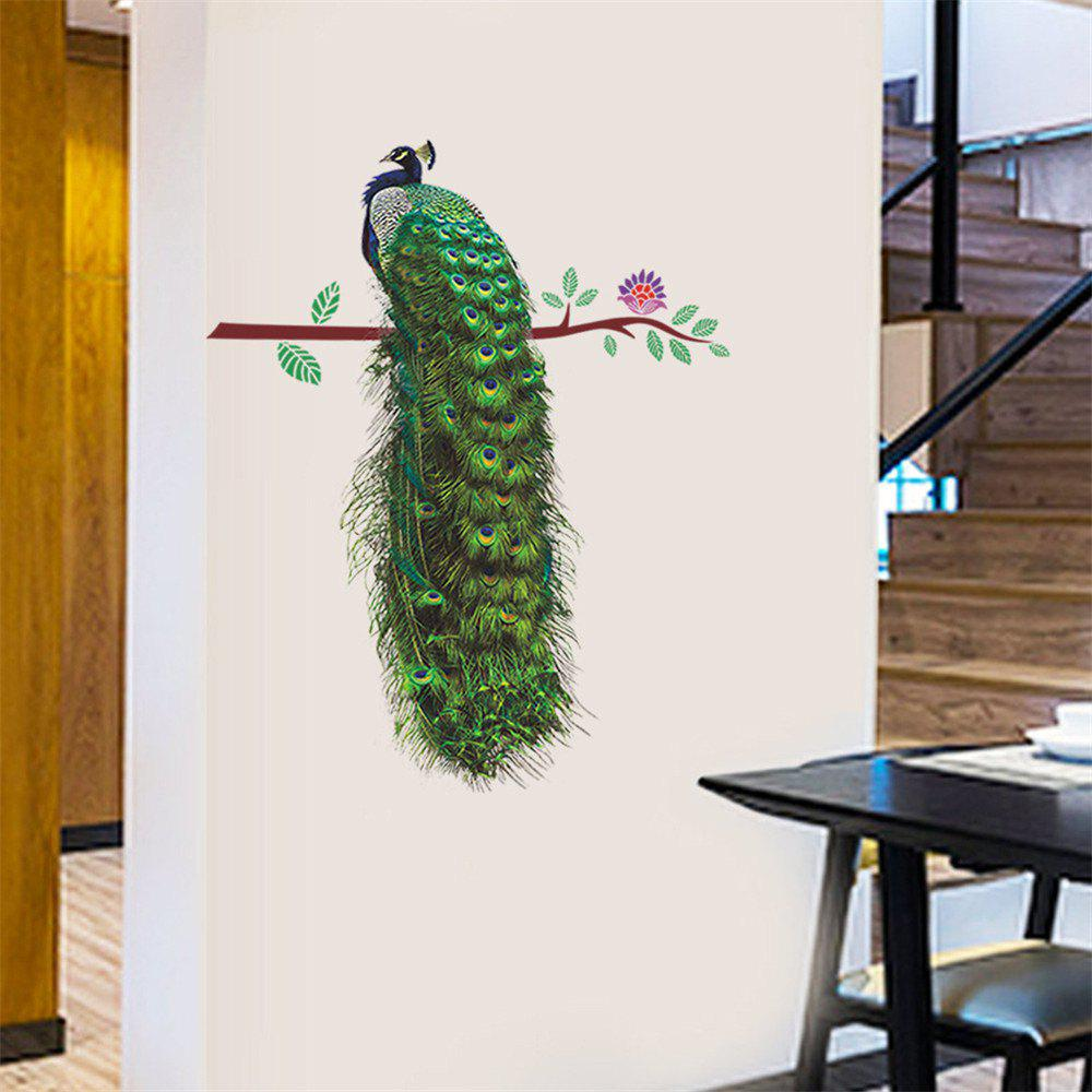 2018 peacock tree branch art wall sticker for home decoration removable decal colormix in wall. Black Bedroom Furniture Sets. Home Design Ideas