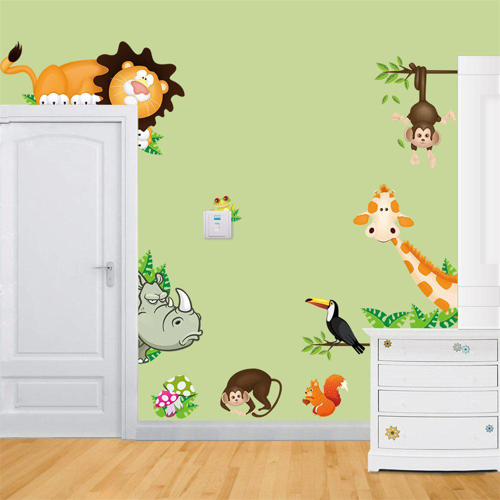 2018 Giraffe Monkey Wall Sticker Children Room Kindergarten DIY ...
