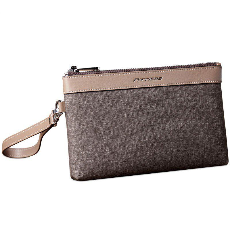 Large Capacity Casual Hand Bag Men's Multi-Purpose Waterproof Nylon Cloth Clutch Canvas - COFFEE