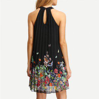 Sleeveless Round Collar Printed Chiffon Loose Dress - BLACK M