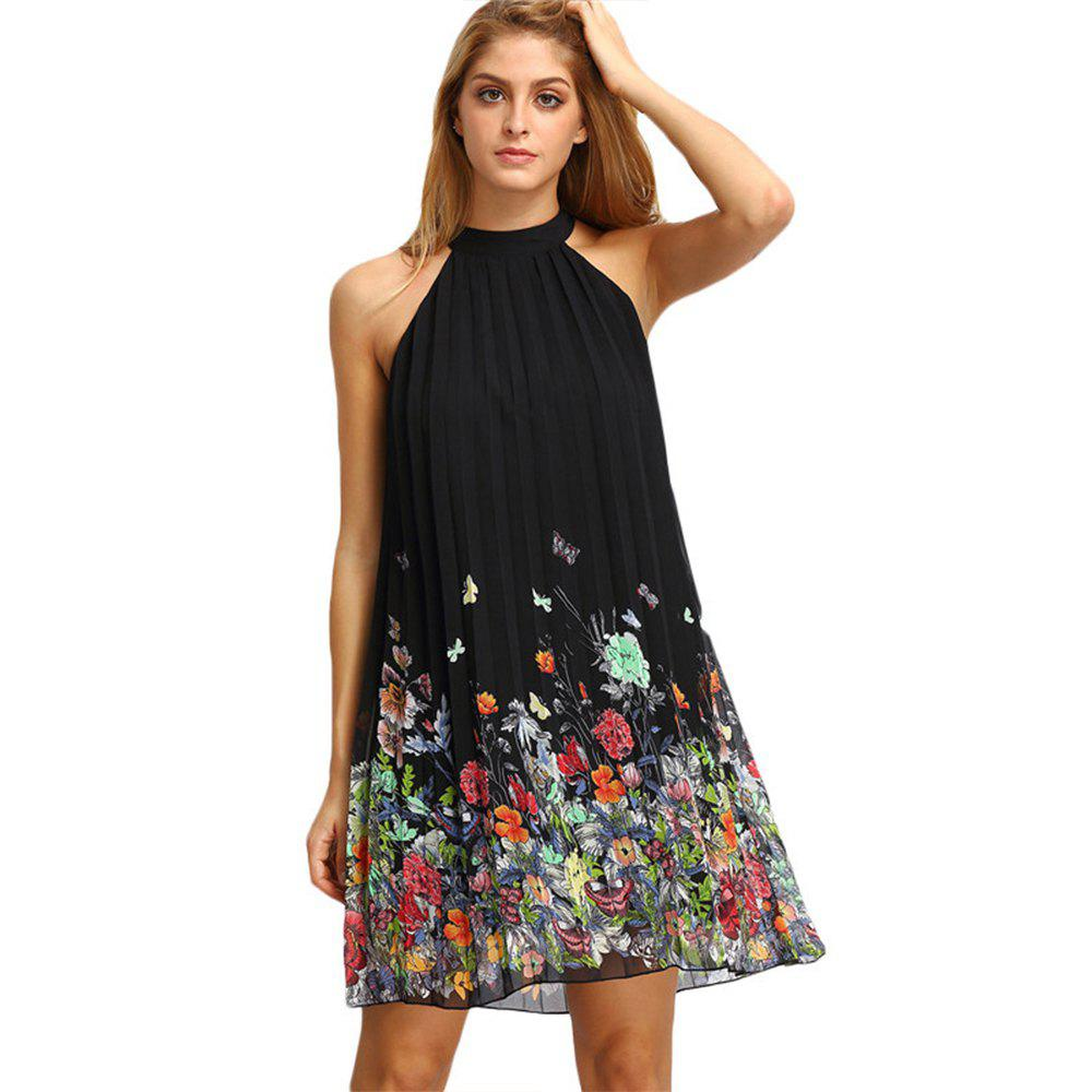 Sleeveless Round Collar Printed Chiffon Loose Dress - BLACK XL