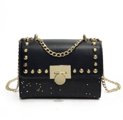 Rivet Decorated Clamshell Female Messenger Shoulder Bag - BLACK