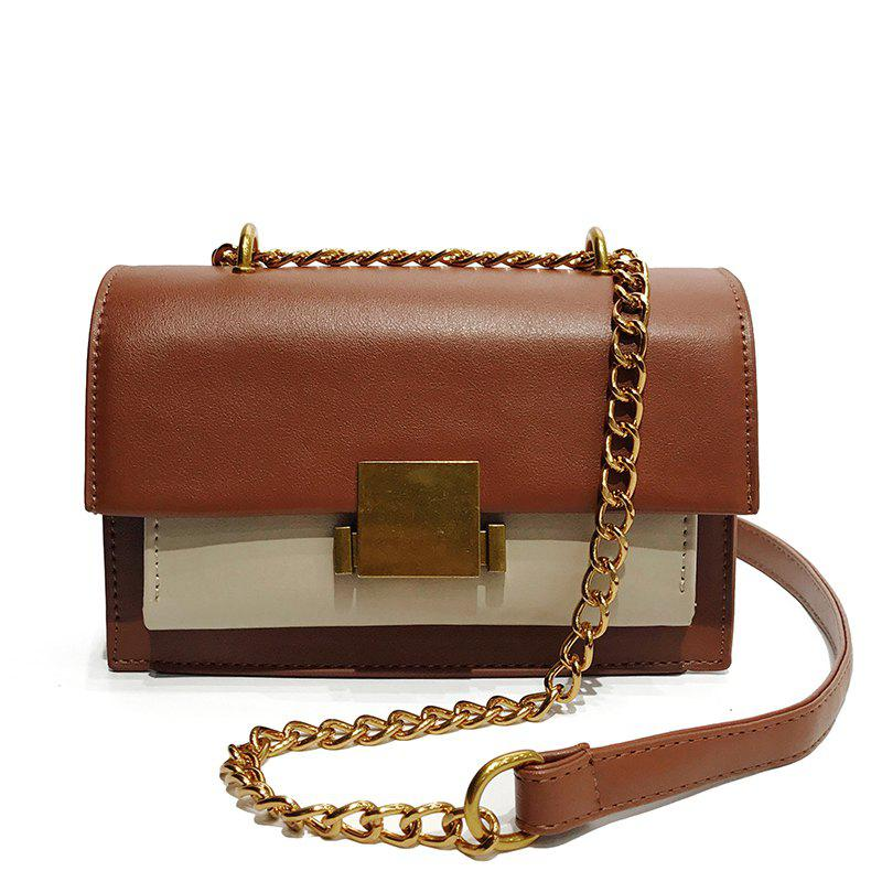 Messenger Female Handbag Solid Color Shoulder Bag - BROWN