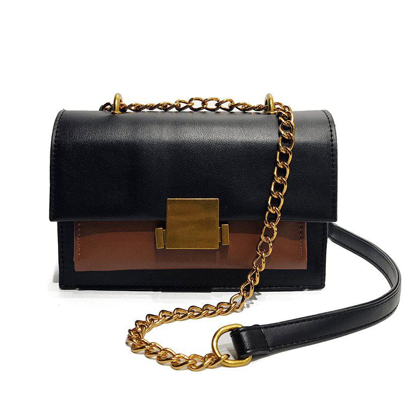 Messenger Female Handbag Solid Color Shoulder Bag - BLACK