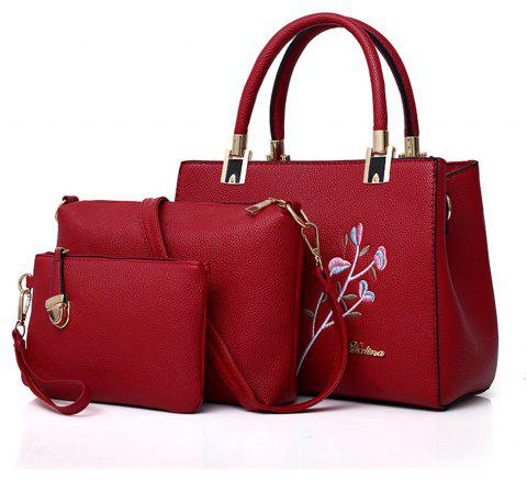 Female Wild Messenger Handbag Embroidery Three-Piece Suit - RED