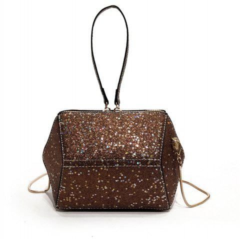 Chains Small Girl Wild Glitter Handbag Shoulder Messenger Bag - COFFEE