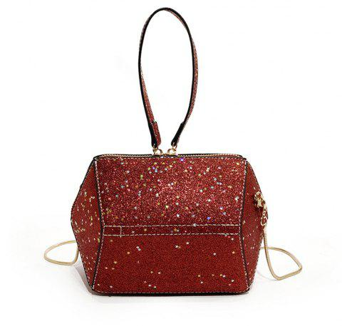 Chains Small Girl Wild Glitter Handbag Shoulder Messenger Bag - RED