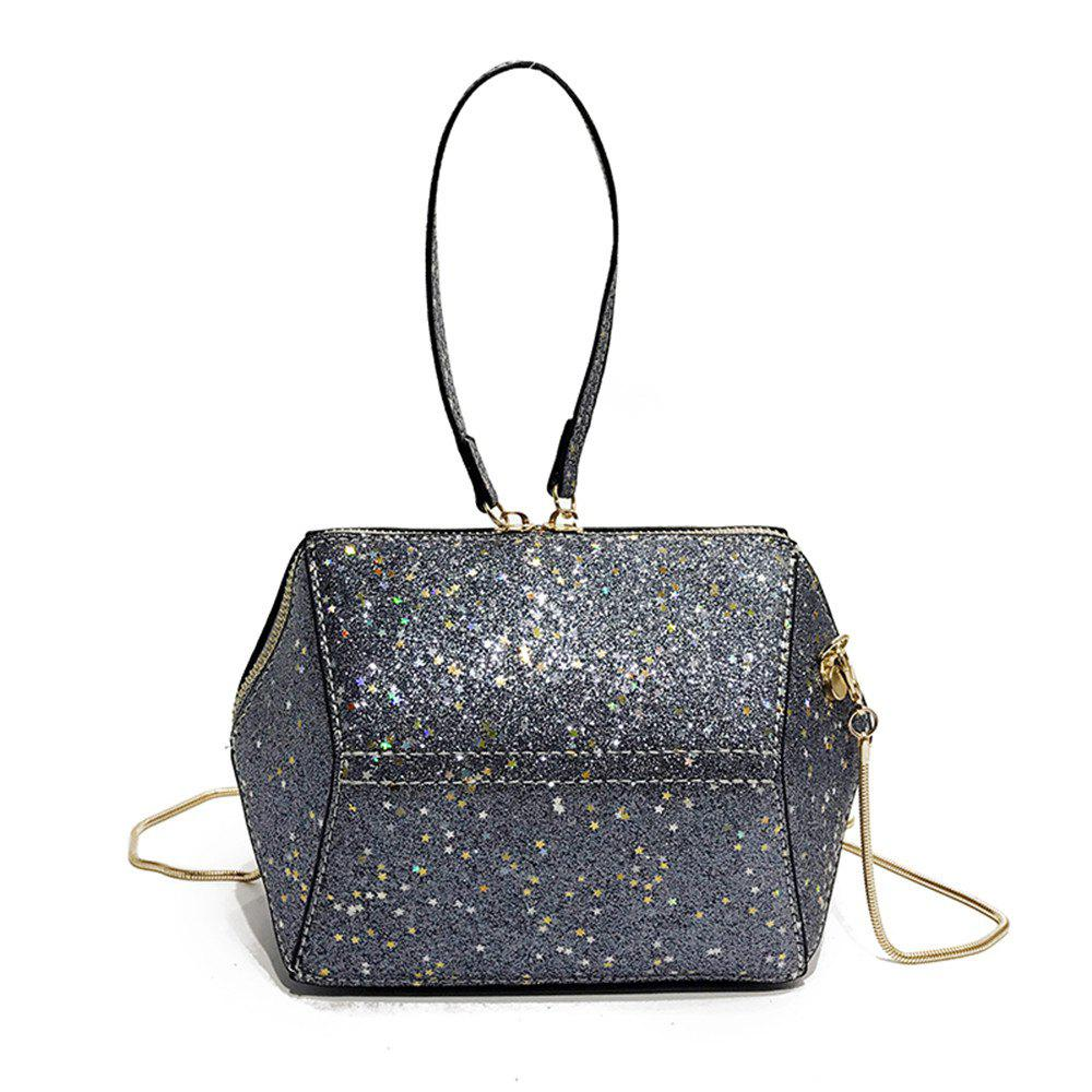 Chains Small Girl Wild Glitter Handbag Shoulder Messenger Bag - BLUE