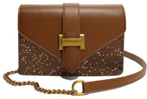 Fashion Sequins Small Square Female Buckle Shoulder Wild Stitching Messenger Bag - BROWN
