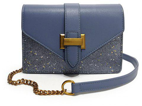 Fashion Sequins Small Square Female Buckle Shoulder Wild Stitching Messenger Bag - BLUE