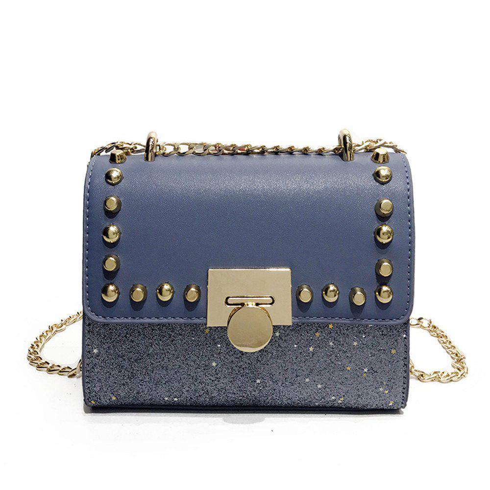 Small Female Wild Messenger Shoulder Fashion Chain Buckle Bag - BLUE