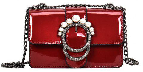 Ladies Patent Leather Chain Shoulder Messenger Bag Small - RED