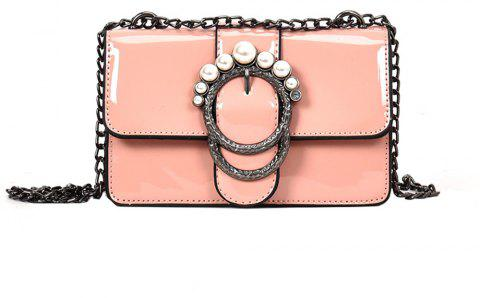 Ladies Patent Leather Chain Buckle Shoulder Messenger Bag Small - PINK