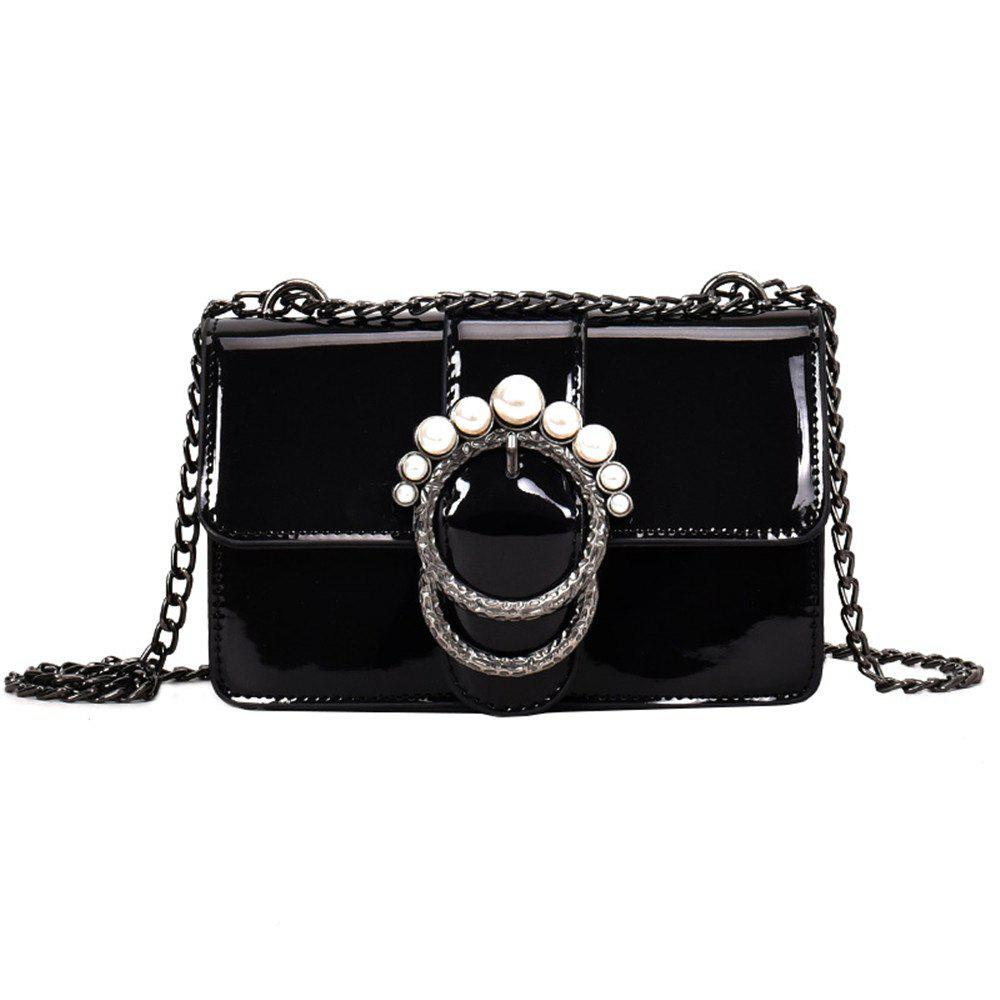 Ladies Patent Leather Chain Buckle Shoulder Messenger Bag Small - BLACK