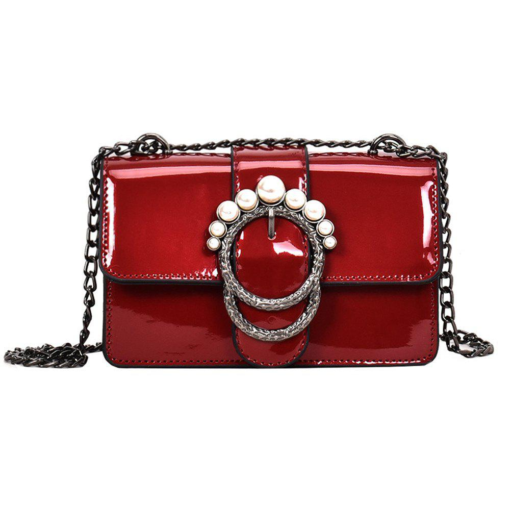 Ladies Patent Leather Chain Buckle Shoulder Messenger Bag Small - RED
