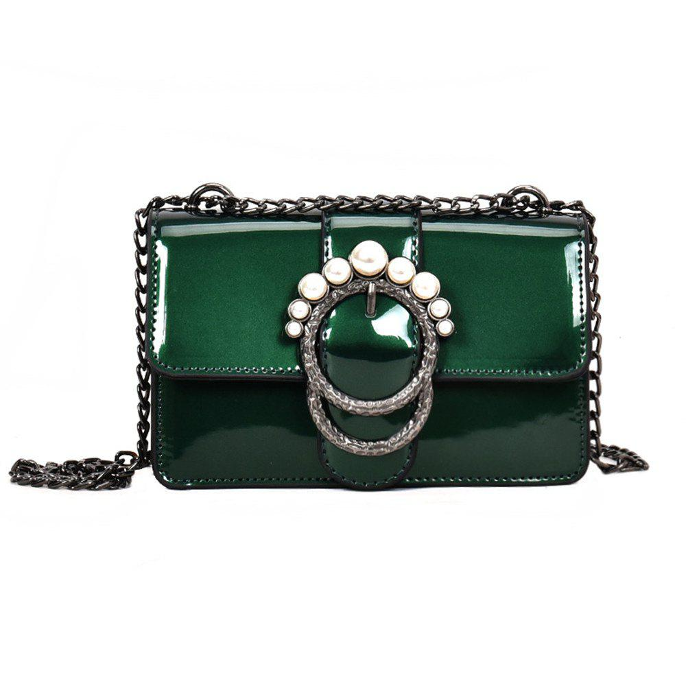 Ladies Patent Leather Chain Buckle Shoulder Messenger Bag Small - GREEN