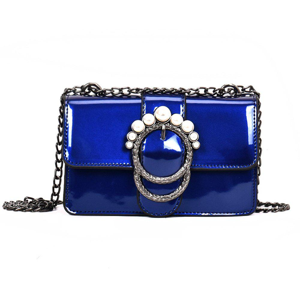 Ladies Patent Leather Chain Buckle Shoulder Messenger Bag Small - BLUE