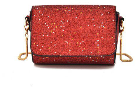 Sequined Small Wild Girl Satchel Chain Shoulder Bag - RED
