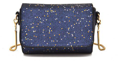 Sequined Small Wild Girl Satchel Chain Shoulder Bag - BLUE