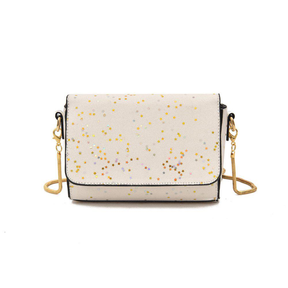 Sequined Small Wild Girl Satchel Chain Shoulder Bag - WHITE