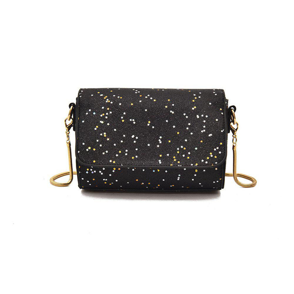 Sequined Small Wild Girl Satchel Chain Shoulder Bag - BLACK