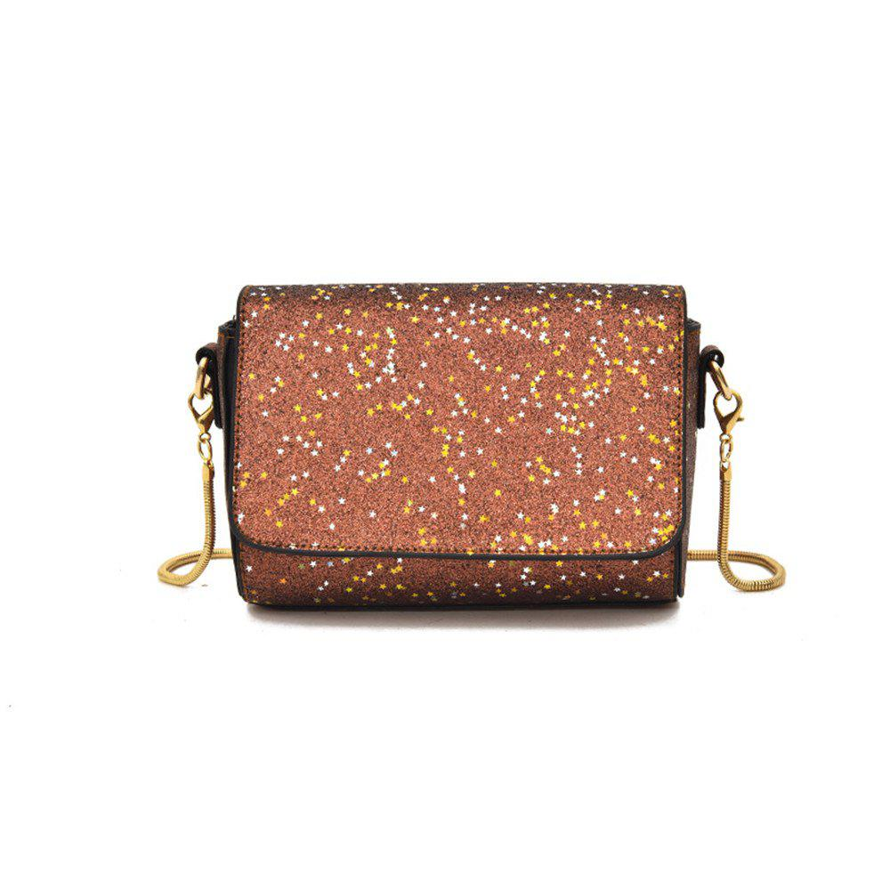 Sequined Small Wild Girl Satchel Chain Shoulder Bag - BROWN