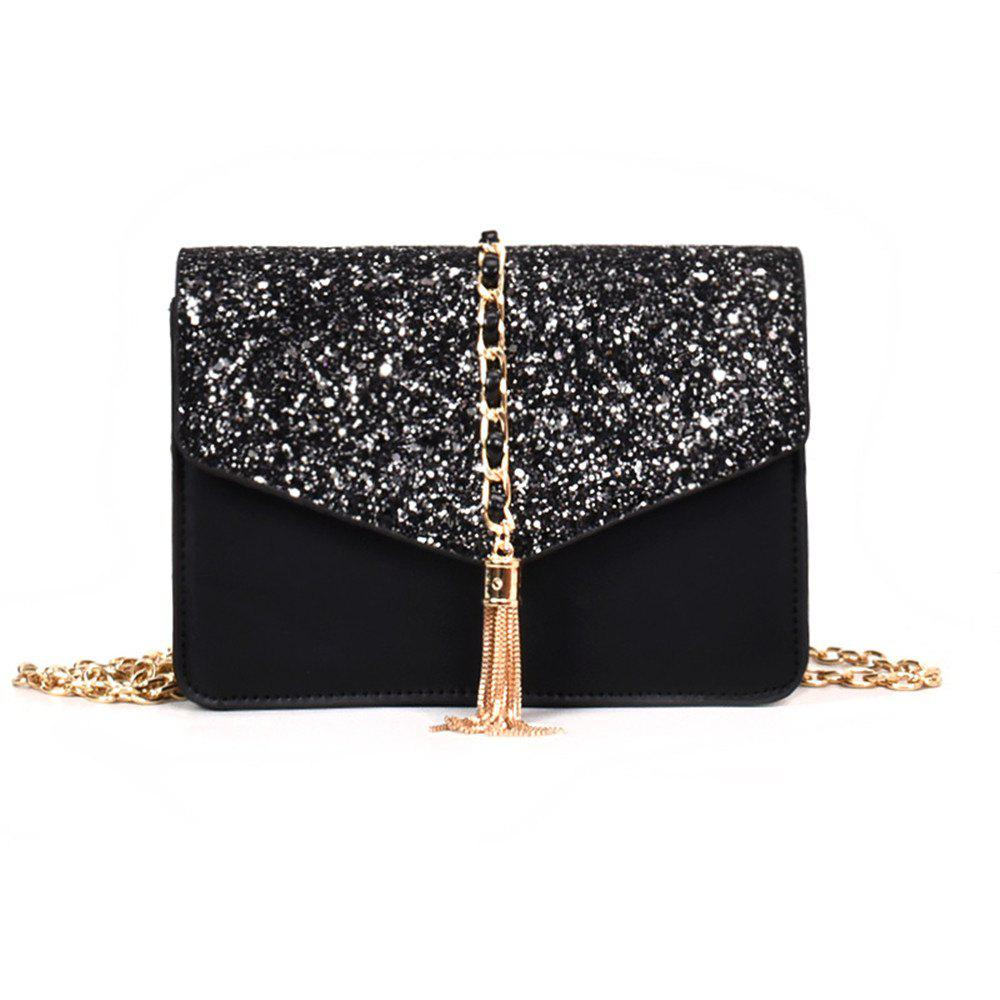 Small Bag  Tassel Shoulder Messenger Chain Tide - BLACK