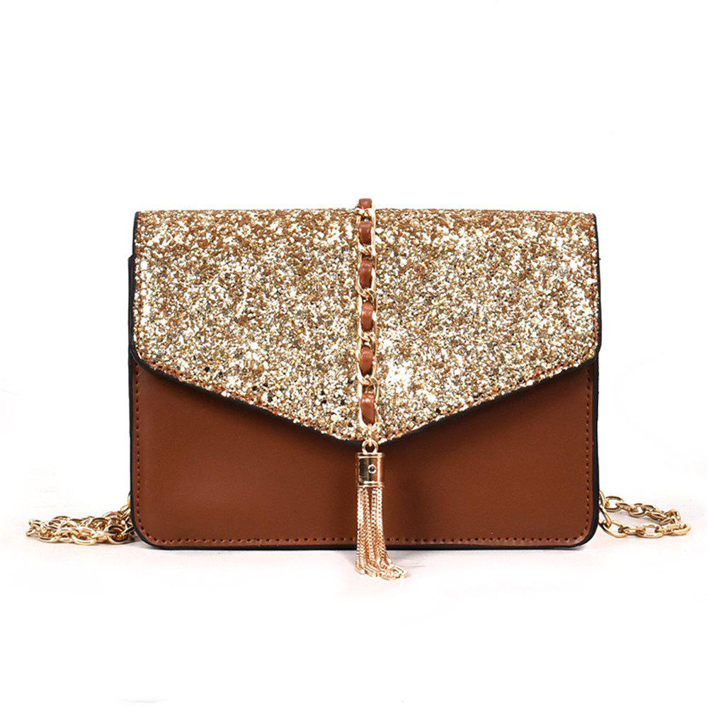 Small Bag  Tassel Shoulder Messenger Chain Tide - LIGHT BROWN