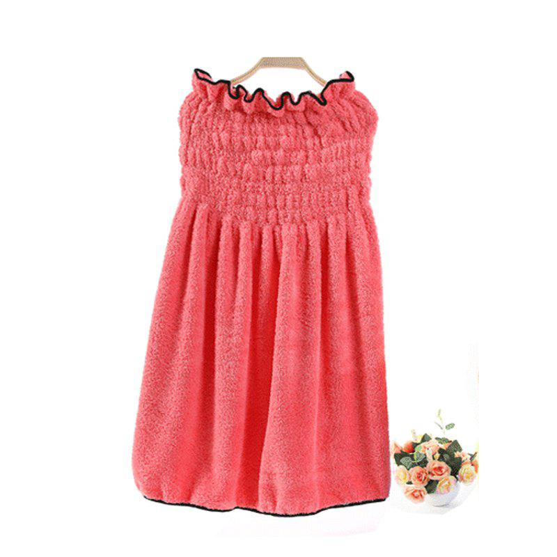 Bath Skirt Sweet Solid Super Supple Boob Tube Top Shower Dress - WATERMELON RED 66CM X 60CM