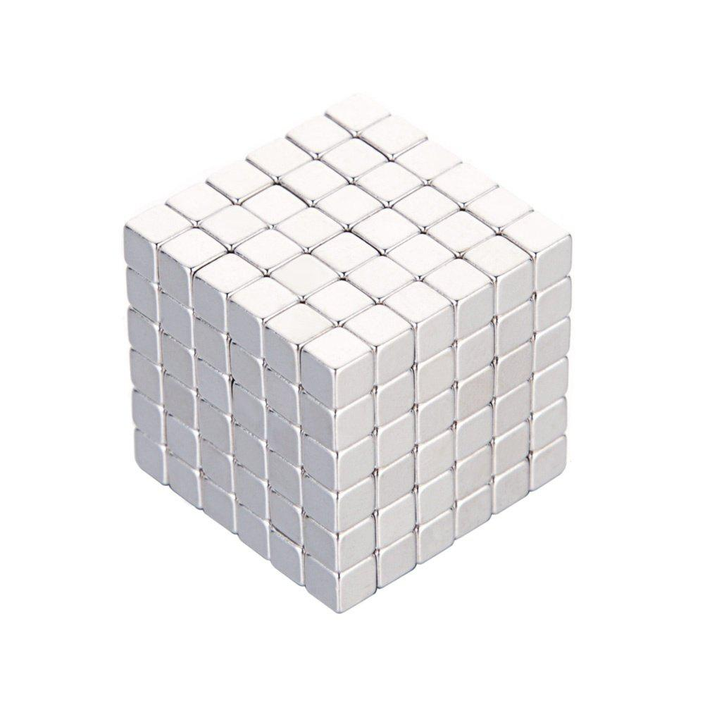 216 Pcs/4mm Neodymium Neocube Cube Fun Powerful Square Magnets ( Color: Silver) - SILVER