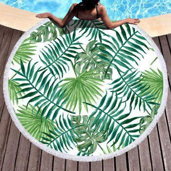 Green Leaves Beach Towel Thick Terry Round Blanket Yoga Mat with Fringe Tassels 60 Inch - GREEN 150CM