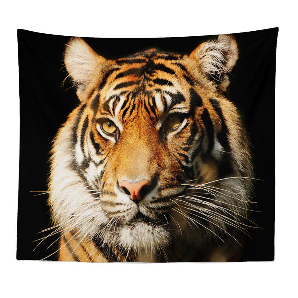 HD Digital Print Animal Portrait Lion Tiger Tapestry Beach Towel Multi-Specification - BLACK W59 INCH * L79 INCH