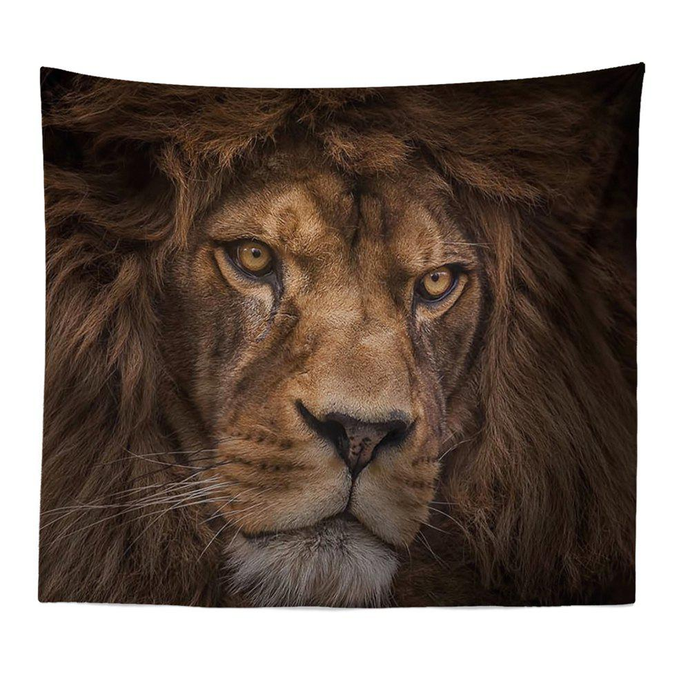 HD Digital Print Animal Portrait Lion Tiger Tapestry Beach Towel Multi-Specification - GRAY W59 INCH * L59 INCH