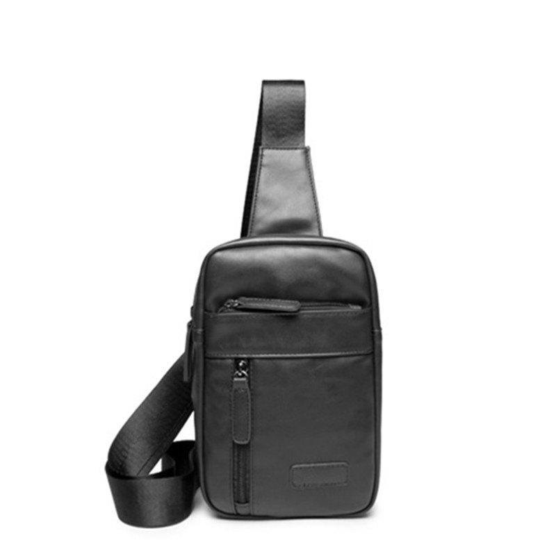 Korean Men's Chest Pack Small Crossbody Unbalance Backpack - BLACK