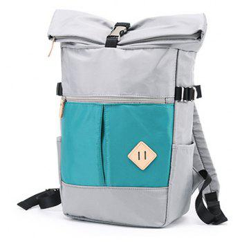 Couple  College Style Travel Backpack Portable Dual-use  Shoulder Bag - AZURE VERTICAL