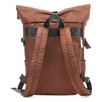 Couple  College Style Travel Backpack Portable Dual-use  Shoulder Bag - COFFEE BROWN VERTICAL
