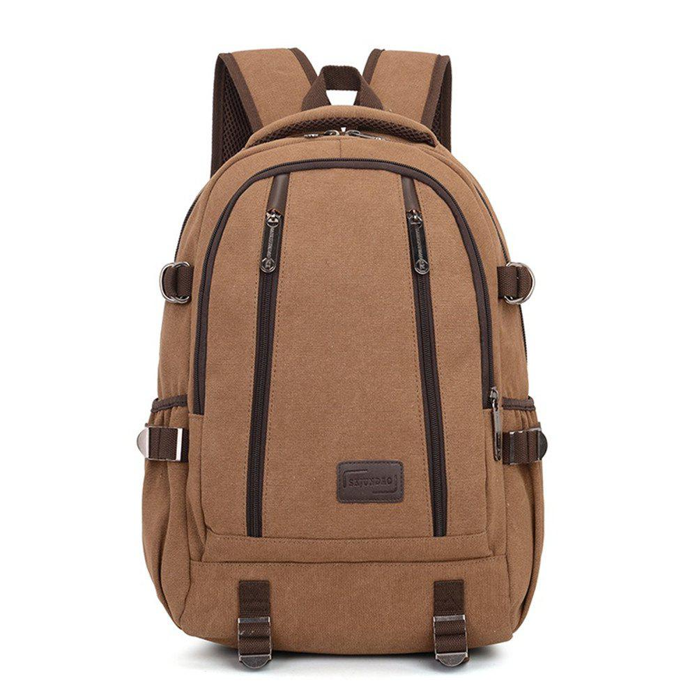 Simple Fashion Canvas Men's Shoulder Knapsack - COFFEE