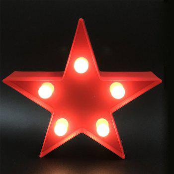 Cute Small Five-Pointed Star Shaped LED Lamp Children Room Decorated With Small Night Light - RED 16.5X16.5X3.8CM