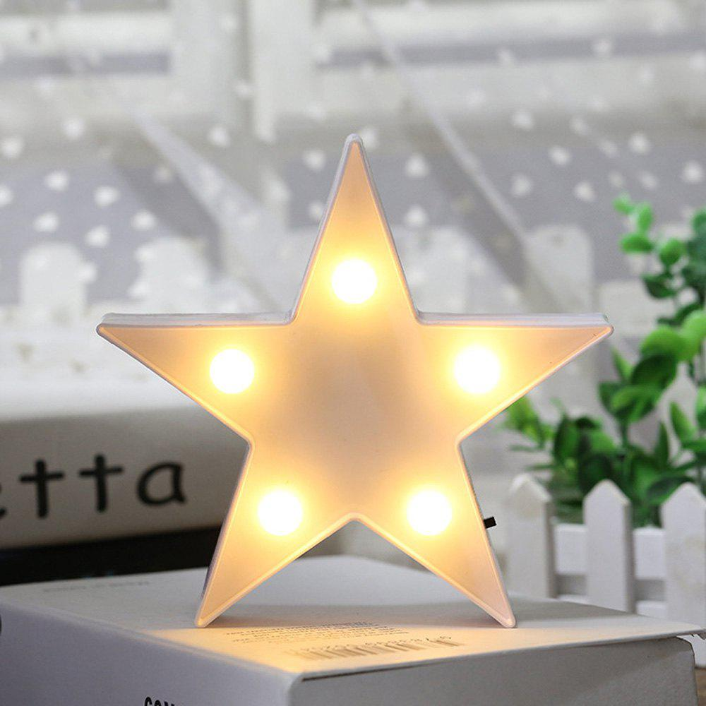 Cute Small Five-Pointed Star Shaped LED Lamp Children Room Decorated With Small Night Light - WHITE 16.5X16.5X3.8CM