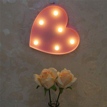 Cute Love Heart Shaped LED Lamp Children Room Decorated With Small Night Light - PINK 16.5X16.5X3.8CM