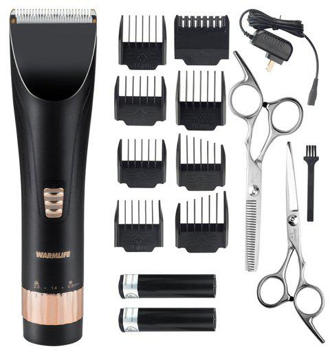 Warmlife Professional Cordless Hair Clippers Set Electric Hair Trimmer for Men And Baby Rechargeable Haircut Kit with 2 Batteries 8 Combs 2 Scissors Black - BLACK