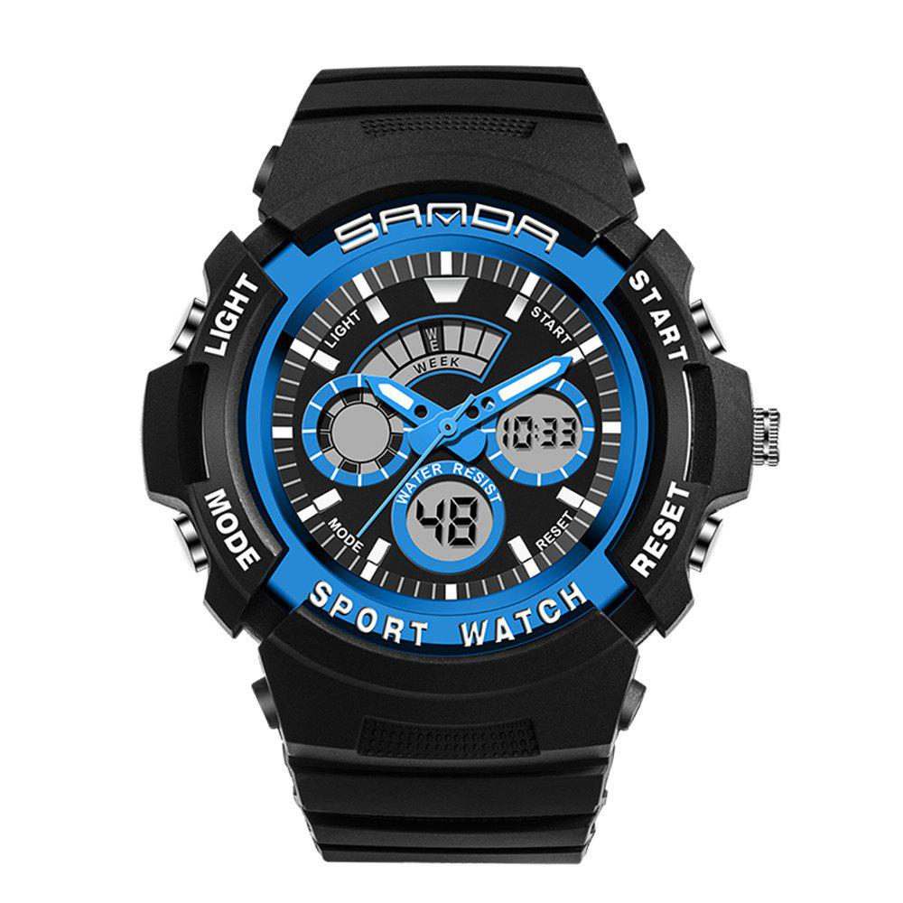 Sanda 138 1307 Fashionable Leisure Outdoor Sports Trend Multifunctional Waterproof Man Watch - BLUE
