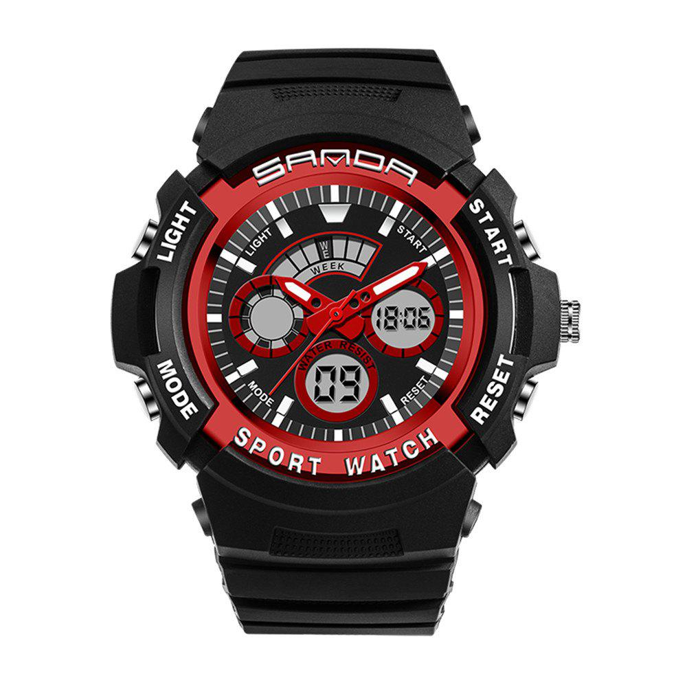 Sanda 138 1307 Fashionable Leisure Outdoor Sports Trend Multifunctional Waterproof Man Watch - RED