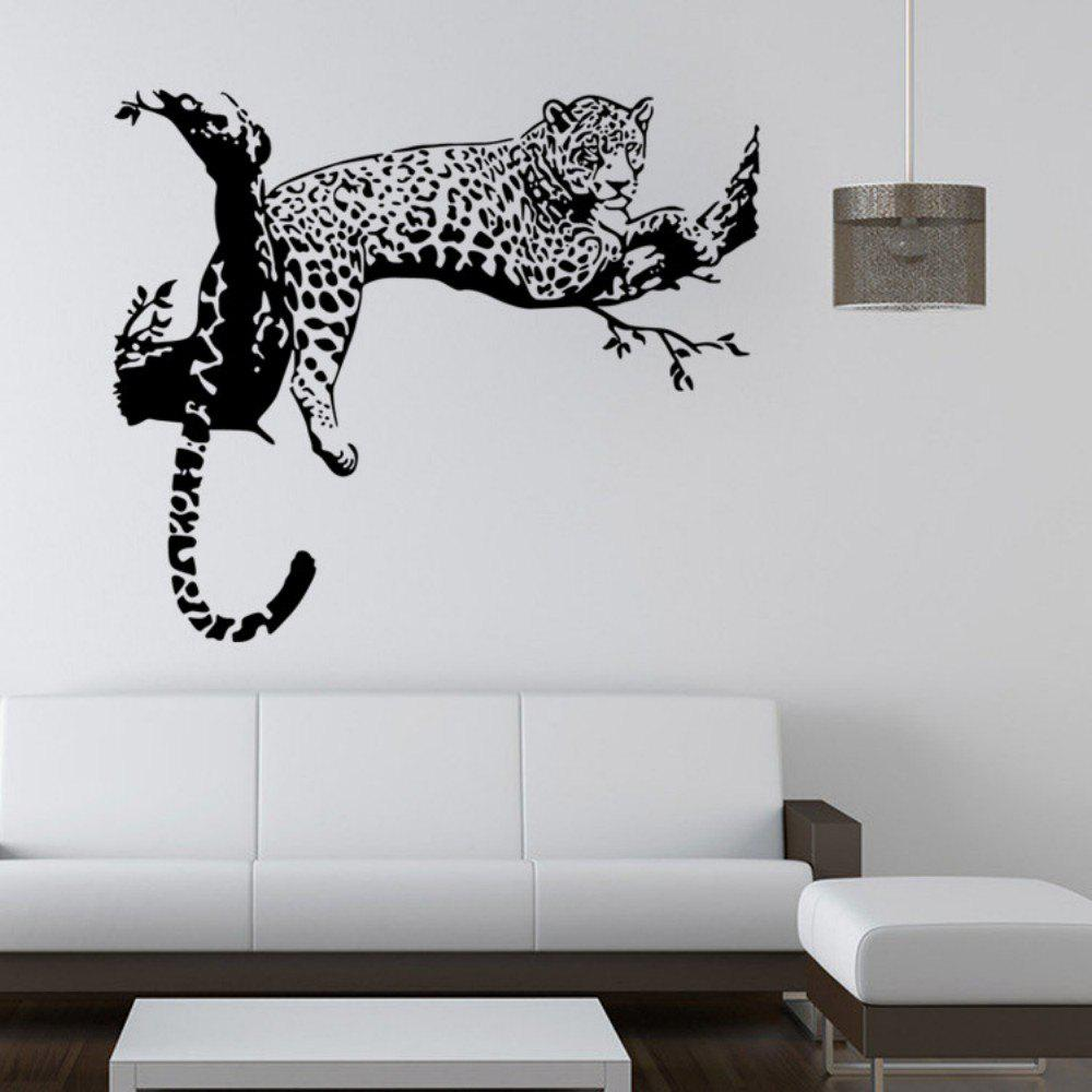 Animals Leopard Lying on The Branch PVC Wall Sticker for Kids Nursery Room Decoration