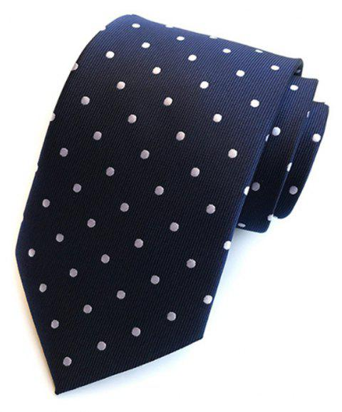 New High Quality Cloth Multi-Color Wave Point Men's Tie - DEEP BLUE