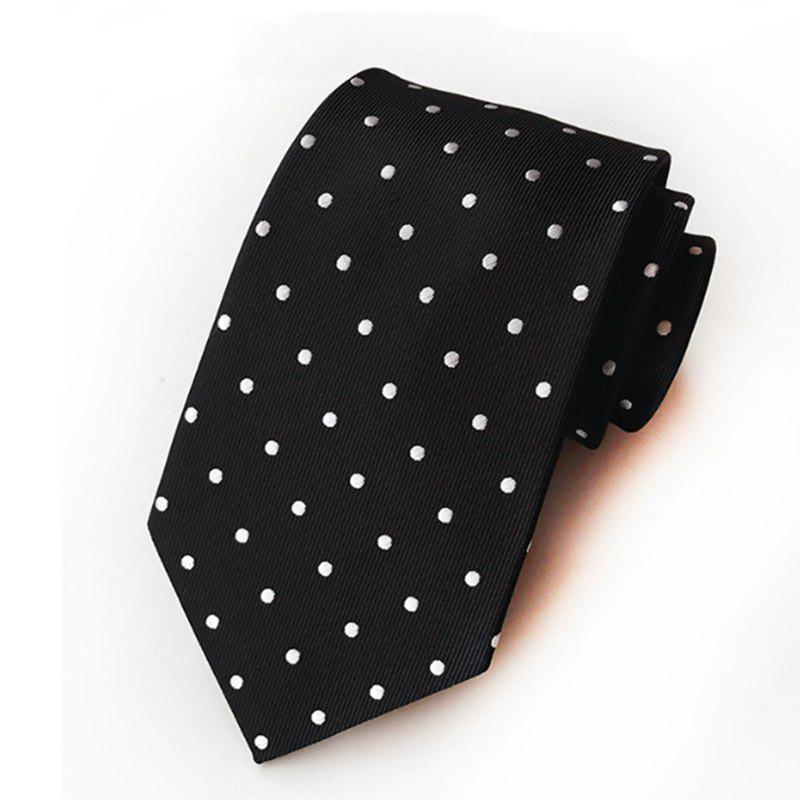 New High Quality Cloth Multi-Color Wave Point Men's Tie - BLACK