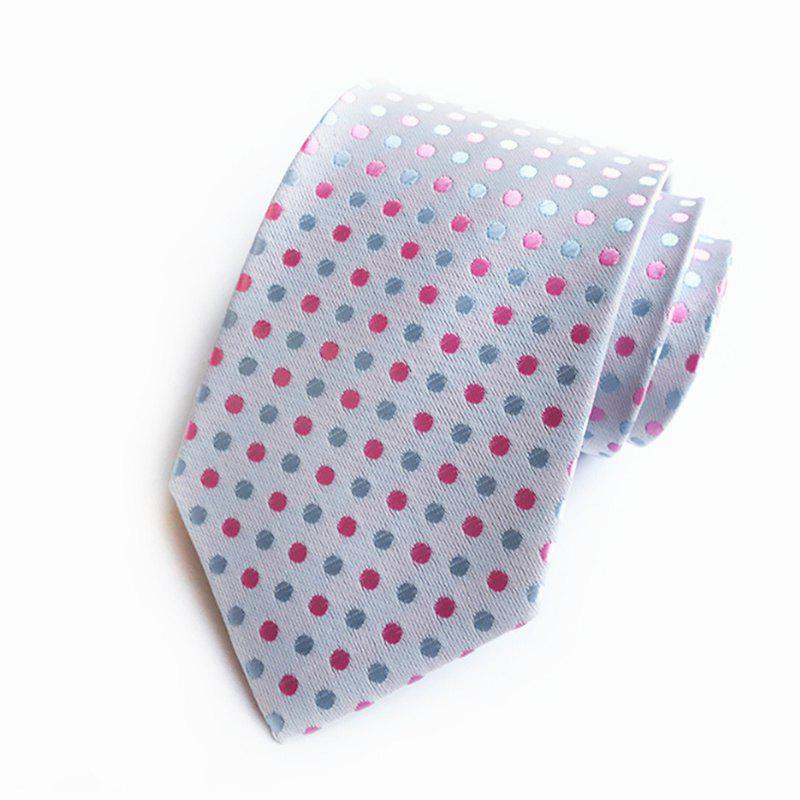 New High Quality Cloth Multi-Color Wave Point Men's Tie - SILVER