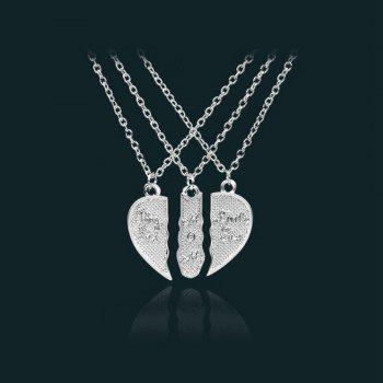 Women's Necklace Creative Design Heart Shaped Letter Brief Accessory - SILVER