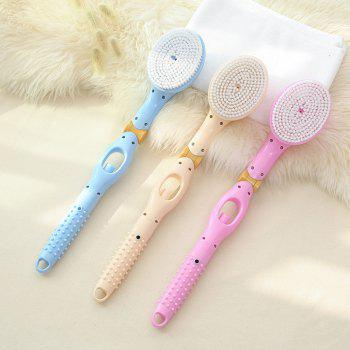 Long Handle Folding Automatically Add Body Wash Massage Hair Brush Bath Brush - APRICOT