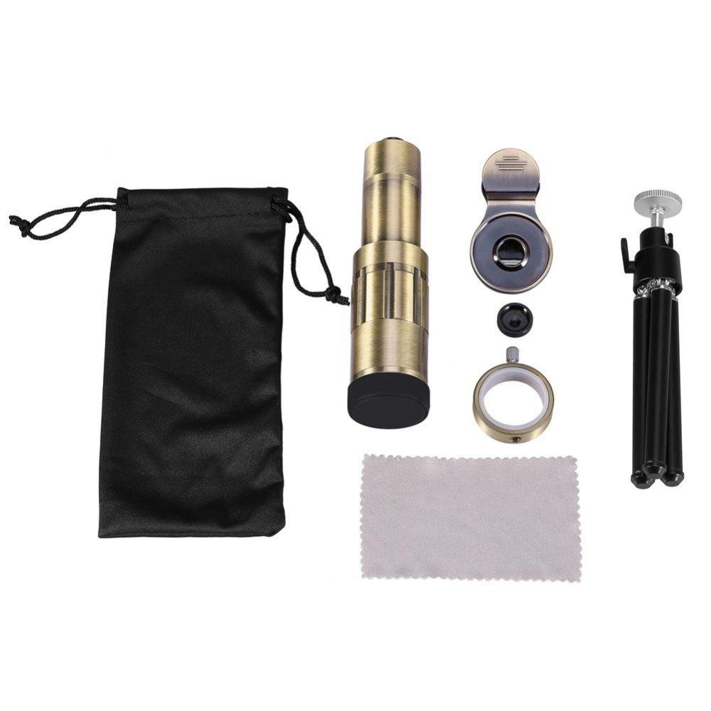 Universal Cellphone Camera Lens Kit Telephoto Lens 20X Optical Zoom Telescope w/ Clip & Tripod - GOLDEN